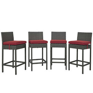Darren Canvas Red Outdoor Patio Bar Stool, Set of 4