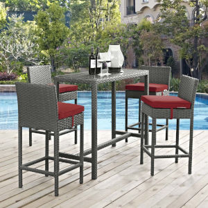 Darren Canvas Red 93-Inch Five Piece Outdoor Patio Pub Set