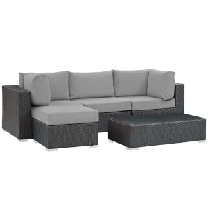 Darren Canvas Gray Five Piece Outdoor Patio Furniture Set with Armless Chair, Coffee Table, Ottoman, Two Corners