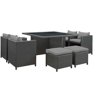 Taryn Canvas Gray 89-Inch Outdoor Patio Dining Table with Four Chairs, Four Stool