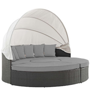 Darren Canvas Gray 87-Inch Outdoor Patio Daybed