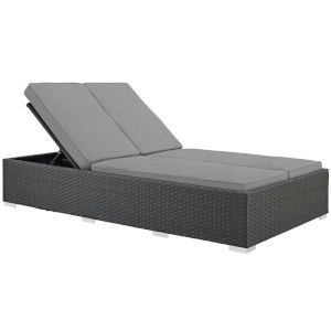 Darren Chocolate and Gray Outdoor Patio Double Chaise