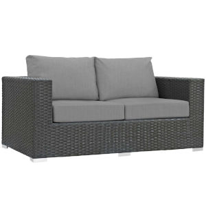 Darren Canvas Gray Outdoor Patio Loveseat