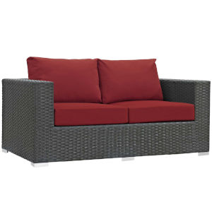 Darren Canvas Red Outdoor Patio Loveseat