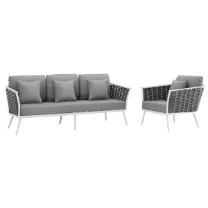 Taryn White and Gray Two Piece Outdoor Patio Furniture Set with Armchair, Sofa