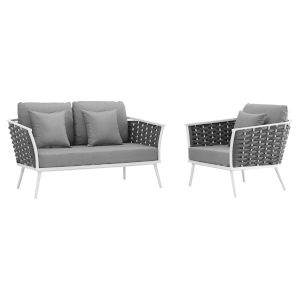 Taryn White and Gray Two Piece Outdoor Patio Furniture Set with Armchair, Loveseat