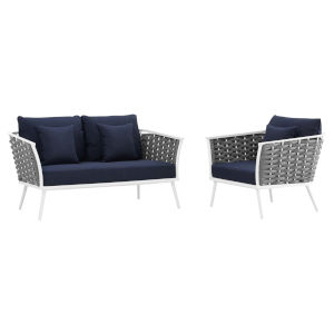 Taryn White and Navy Two Piece Outdoor Patio Furniture Set with Armchair, Loveseat