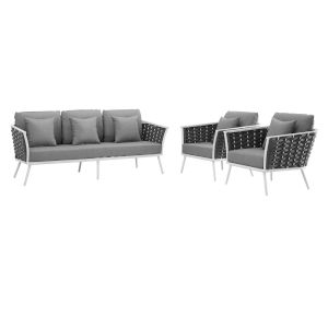 Taryn White and Gray Three Piece Outdoor Patio Furniture Set with Sofa, Two Armchair