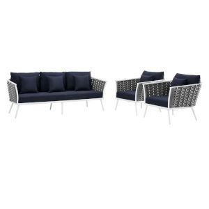 Taryn White and Navy Three Piece Outdoor Patio Furniture Set with Sofa, Two Armchair