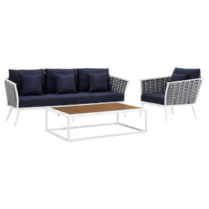 Taryn White and Navy Three Piece Outdoor Patio Furniture Set with Armchair, Coffee Table, Sofa