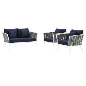 Taryn White and Navy Three Piece Outdoor Patio Furniture Set with Loveseat, Two Armchair