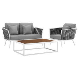 Taryn White and Gray Three Piece Outdoor Patio Furniture Set with Armchair, Coffee Table, Loveseat