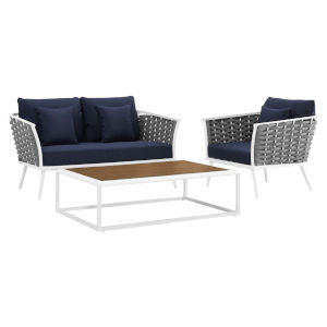 Taryn White and Navy Three Piece Outdoor Patio Furniture Set with Armchair, Coffee Table, Loveseat
