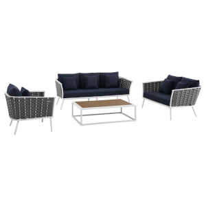 Taryn White and Navy Four Piece Outdoor Patio Furniture Set with Armchair, Coffee Table, Loveseat, Sofa