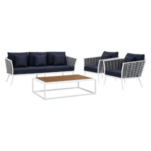 Taryn White and Navy Four Piece Outdoor Patio Furniture Set with Coffee Table, Sofa, Two Armchair