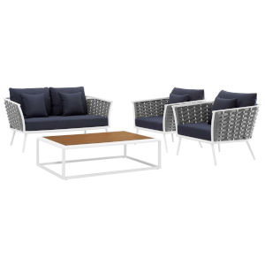 Taryn White and Navy Four Piece Outdoor Patio Furniture Set with Coffee Table, Loveseat, Two Armchair