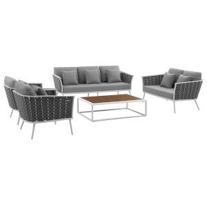 Taryn White and Gray Five Piece Outdoor Patio Furniture Set with Coffee Table, Loveseat, Sofa, Two Armchair