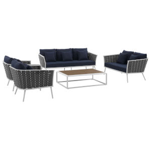 Taryn White and Navy Five Piece Outdoor Patio Furniture Set with Coffee Table, Loveseat, Sofa, Two Armchair