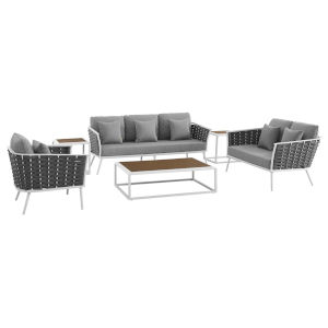 Taryn White and Gray Six Piece Outdoor Patio Furniture Set with Armchair, Coffee Table, Loveseat, Sofa, Two Side Table