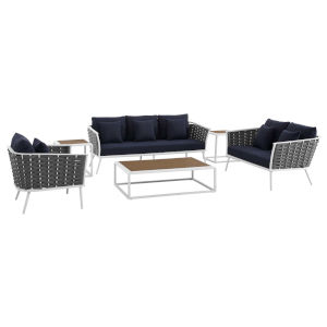 Taryn White and Navy Six Piece Outdoor Patio Furniture Set with Armchair, Coffee Table, Loveseat, Sofa, Two Side Table