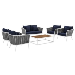 Taryn White and Navy Six Piece Outdoor Patio Furniture Set with Four Armchair, Coffee Table, Loveseat