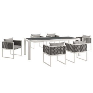Taryn White and Gray 138-Inch Outdoor Patio Dining Table with Six Dining Armchair