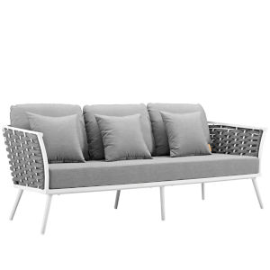Taryn White and Gray Outdoor Patio Sofa