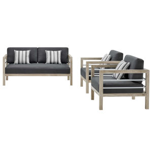 Taryn Light Gray Three Piece Outdoor Patio Furniture Set with Loveseat, Two Armchair