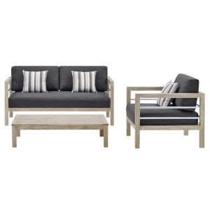 Taryn Light Gray Three Piece Outdoor Patio Furniture Set with Armchair, Coffee Table, Loveseat