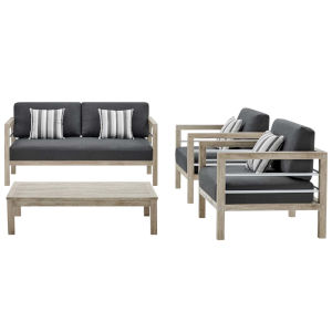 Taryn Light Gray Four Piece Outdoor Patio Furniture Set with Coffee Table, Loveseat, Two Armchair