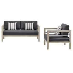 Taryn Light Gray Outdoor Patio Furniture Set with Armchair, Loveseat