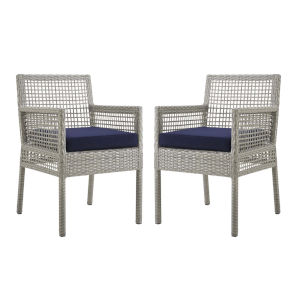 Roat Gray and Navy Outdoor Patio Dining Arm Chair, Set of 2