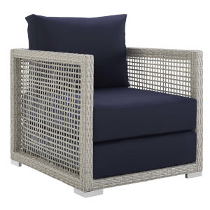 Roat Gray and Navy Outdoor Patio Arm Chair