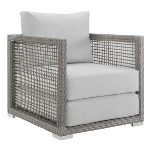 Roat Gray and White Outdoor Patio Arm Chair