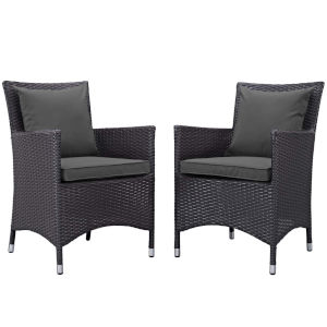 Taryn Espresso and Charcoal Two Piece Outdoor Patio Chair, Set of 2