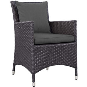 Taryn Espresso and Charcoal Outdoor Patio Arm Chair