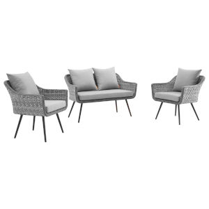 Taryn Gray Three Piece Outdoor Patio Furniture Set with Loveseat, Two Armchair