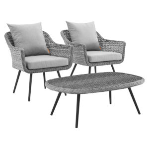 Taryn Gray Three Piece Outdoor Patio Furniture Set with Coffee Table, Two Armchair