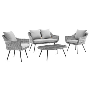 Taryn Gray Four Piece Outdoor Patio Furniture Set with Coffee Table, Loveseat, Two Armchair