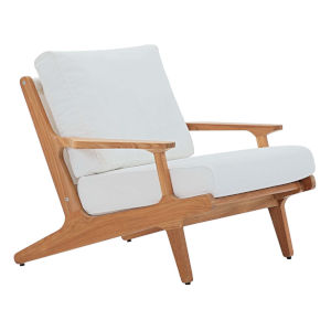 Roat Natural and White Outdoor Patio Arm Chair