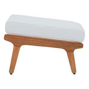 Roat Natural and White Outdoor Patio Ottoman
