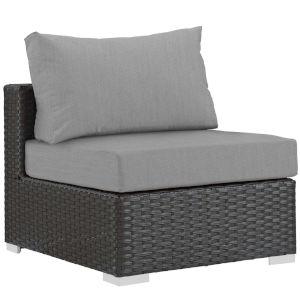 Darren Canvas Gray Outdoor Patio Armless Chair