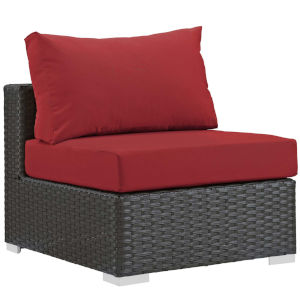 Darren Canvas Red Outdoor Patio Armless Chair
