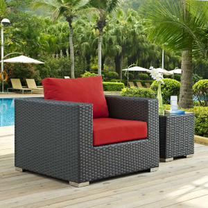Darren Canvas Red Outdoor Patio Arm Chair
