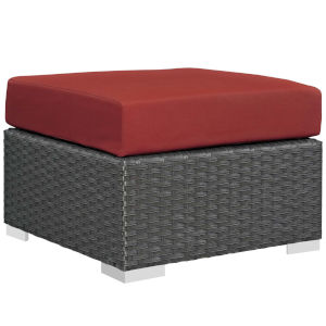 Darren Canvas Red Outdoor Patio Ottoman