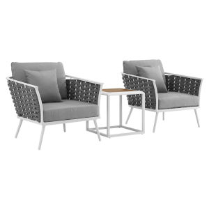 Taryn White and Gray Three Piece Outdoor Patio Furniture Set with Side Table, Two Armchair