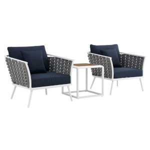 Taryn White and Navy Three Piece Outdoor Patio Furniture Set with Side Table, Two Armchair