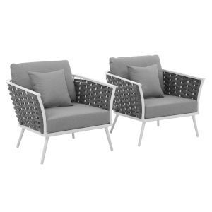 Taryn White and Gray Outdoor Patio Arm Chair, Set of 2