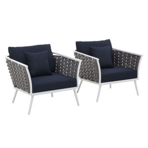 Taryn White and Navy Outdoor Patio Arm Chair, Set of 2