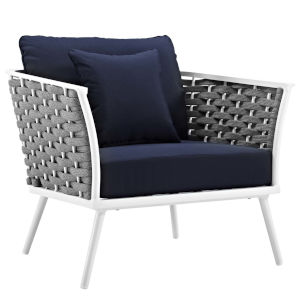 Taryn White and Navy Outdoor Patio Arm Chair